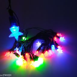 21Ft/3 Meter (Approx) 28 Bulb Led Crystal Star Black Wire String Light