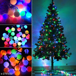 3 Meter (Approx) Bulb 28 Small White Ball Globe Multi-Color Led Light With Black Wire