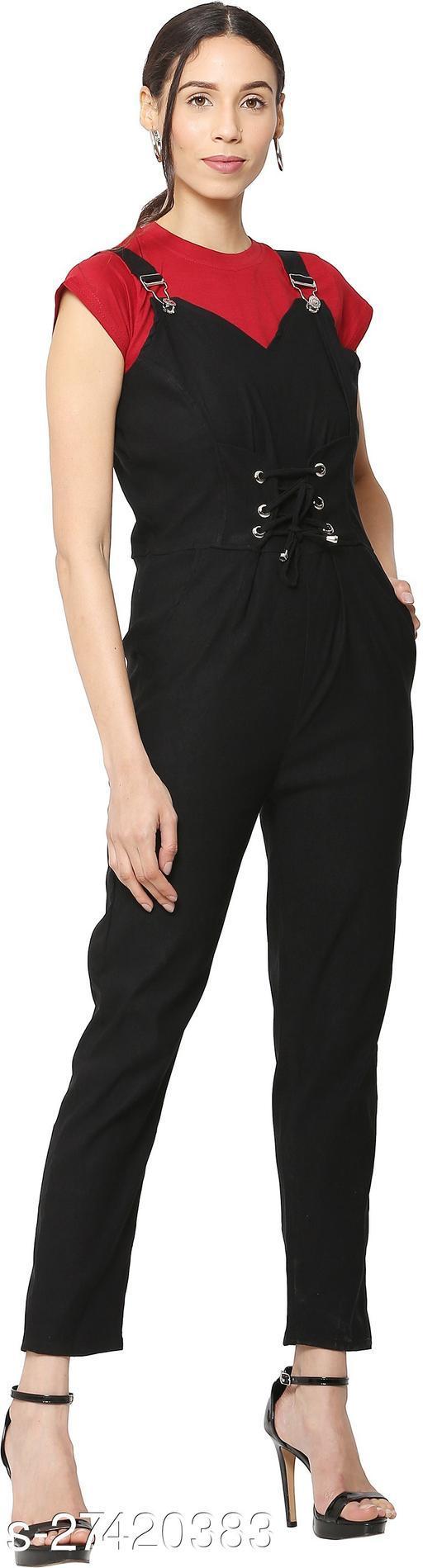 Jumpsuit Pant Black + Maroon T-Shrit
