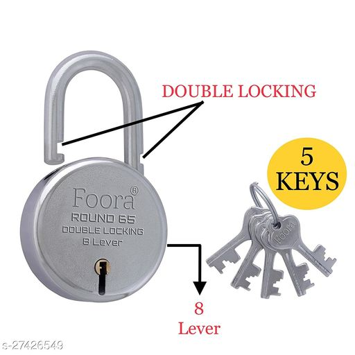Foora Round 65mm With 5 KEYS Double Locking & 8 Lever Techniology