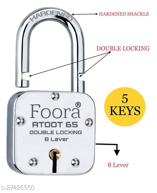 Foora Atoot 65mm Long Shackle With 5 KEYS Double Locking & 8 Lever Techniology