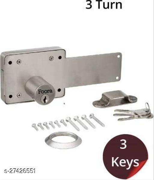 Foora 3 Turn interlock/Godown lock with 3 Keys , Anti Cut Rod , for Main Door/Gate.