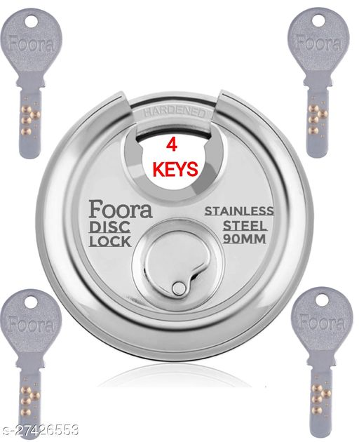 Foora Disc Lock 90mm with 14 Pin Brass Cylinder With 4 Keys