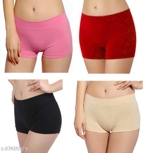 Women Boy Shorts Multicolor Cotton Blend Panty (Pack of 4)