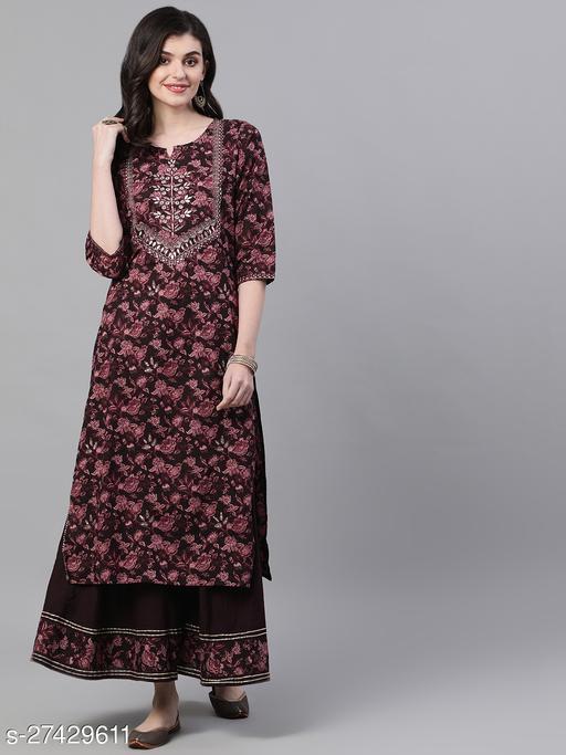 Ishin Women's Cotton Burgundy Embellished A-Line Kurta Sharara Set