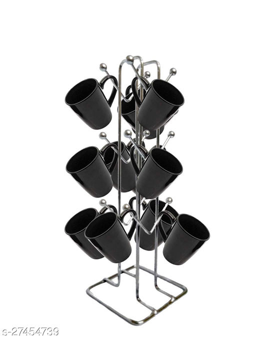 Maxtan Heavy Stainless Steel Tea Cup Stand Coffee Cup Holder for Kitchen Dining Showcase Milk Mug Holder Stand - V Shape (12 Hooks) Made in India Product