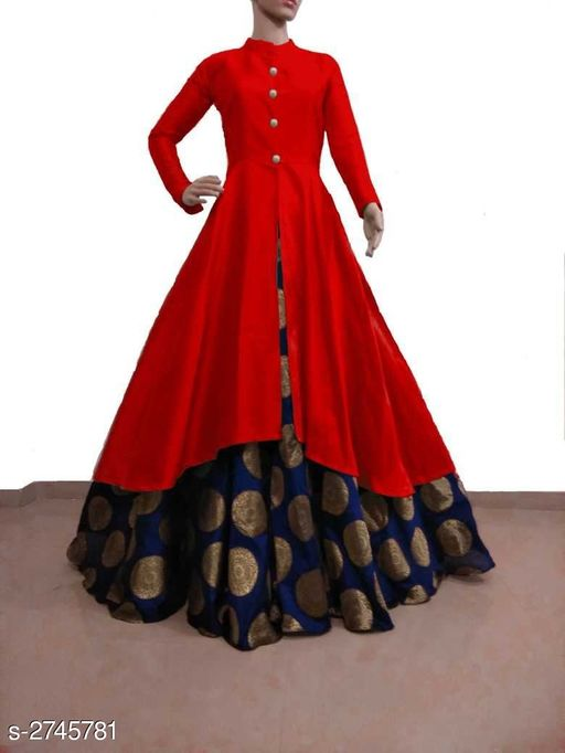 Kurta Sets Women Solid Silk Kurta Set with Skirt  *Fabric* Kurti - Bangalori Silk , Skirt - Jacquard  *Sleeves* Sleeves Are Included  * Size* Kurti - L - 40 in, XL - 42 in, XXL - 44 in, Skirt - L - 32 in, XL - 34 in, XXL - 36 in  *Length* Kurti - Up to 46 in, Skirt - Up to 40 in Flare - Kurti - 3 Mtr, Skirt - 3 Mtr  *Type* Stitched  *Description* It Has 1 Piece Of Kurti & 1 Piece Of Skirt  *Pattern * Kurti - Solid , Work  *Sizes Available* M, L, XL, XXL *   Catalog Rating: ★3.8 (3341)  Catalog Name: Women's Solid Silk Kurta Set with Skirt CatalogID_372164 C74-SC1003 Code: 726-2745781-
