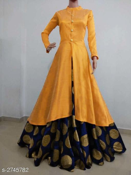 Kurta Sets Women Solid Silk Kurta Set with Skirt  *Fabric* Kurti - Bangalori Silk , Skirt - Jacquard  *Sleeves* Sleeves Are Included  * Size* Kurti - L - 40 in, XL - 42 in, XXL - 44 in, Skirt - L - 32 in, XL - 34 in, XXL - 36 in  *Length* Kurti - Up to 46 in, Skirt - Up to 40 in Flare - Kurti - 3 Mtr, Skirt - 3 Mtr  *Type* Stitched  *Description* It Has 1 Piece Of Kurti & 1 Piece Of Skirt  *Pattern * Kurti - Solid , Work  *Sizes Available* M, L, XL, XXL *   Catalog Rating: ★3.8 (3341)  Catalog Name: Women's Solid Silk Kurta Set with Skirt CatalogID_372164 C74-SC1003 Code: 726-2745782-