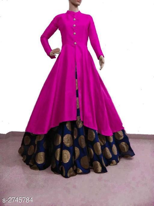 Kurta Sets Women Solid Silk Kurta Set with Skirt  *Fabric* Kurti - Bangalori Silk , Skirt - Jacquard  *Sleeves* Sleeves Are Included  * Size* Kurti - L - 40 in, XL - 42 in, XXL - 44 in, Skirt - L - 32 in, XL - 34 in, XXL - 36 in  *Length* Kurti - Up to 46 in, Skirt - Up to 40 in Flare - Kurti - 3 Mtr, Skirt - 3 Mtr  *Type* Stitched  *Description* It Has 1 Piece Of Kurti & 1 Piece Of Skirt  *Pattern * Kurti - Solid , Work  *Sizes Available* M, L, XL, XXL *   Catalog Rating: ★3.8 (3341)  Catalog Name: Women's Solid Silk Kurta Set with Skirt CatalogID_372164 C74-SC1003 Code: 726-2745784-