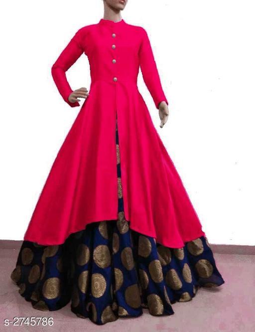 Kurta Sets Women Solid Silk Kurta Set with Skirt  *Fabric* Kurti - Bangalori Silk , Skirt - Jacquard  *Sleeves* Sleeves Are Included  * Size* Kurti - L - 40 in, XL - 42 in, XXL - 44 in, Skirt - L - 32 in, XL - 34 in, XXL - 36 in  *Length* Kurti - Up to 46 in, Skirt - Up to 40 in Flare - Kurti - 3 Mtr, Skirt - 3 Mtr  *Type* Stitched  *Description* It Has 1 Piece Of Kurti & 1 Piece Of Skirt  *Pattern * Kurti - Solid , Work  *Sizes Available* M, L, XL, XXL *   Catalog Rating: ★3.8 (3341)  Catalog Name: Women's Solid Silk Kurta Set with Skirt CatalogID_372164 C74-SC1003 Code: 726-2745786-
