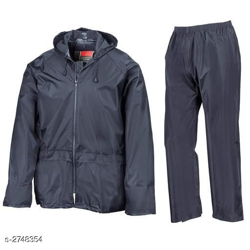 Raincoat Men's Rainwear Rain Coat Pant Set  *Fabric* Coat - Polyester, Pant - Polyester  *Sleeves* Sleeves Are Included  *Size* Coat - L -40 in, XL - 42 in, XXL - 44 in, Pant - L - 32 in, XL - 34 in, XXL - 36 in  *Length* Coat - Up To 30 in, Length - Up To 39 in  *Type* Stitched  *Color* Blue  *Description* It Has 1 Piece Of Men's Coat With 1 Piece Of Pant  *Pattern* Solid  *Sizes Available* L, XL, XXL *   Catalog Rating: ★3.3 (22)  Catalog Name: Funky Men's Rainwear Rain Coat Pant Sets CatalogID_372518 C70-SC1468 Code: 527-2748354-