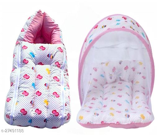 Yourcull Baby Mattress with Mosquito Net Sleeping Bag Combo -Blue Apple Print