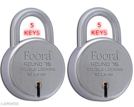 Foora Round 75mm Long Shackle With 5 KEYS Double Locking & 10 Lever Techniology