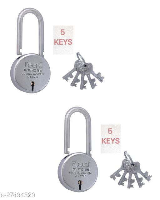 Foora Round 65mm Long Shackle With 5 KEYS Double Locking & 8 Lever Techniology