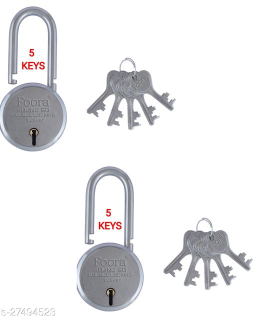 Foora Round 50mm Long Shackle With 5 KEYS Double Locking & 7 Lever Techniology