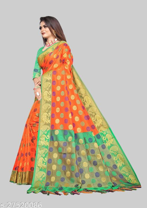 Pretty Lichi  Jacquard Fabric With Zari Weaving Work Adorable Saree With Running Blouse Piece