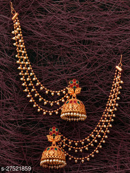 Diva Temple Zhumka Earring with Chain for Women's