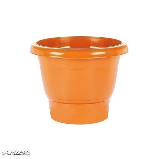 Asian Aura Plastic Round Pot Set 10 Inch, Orange, Pack of 1