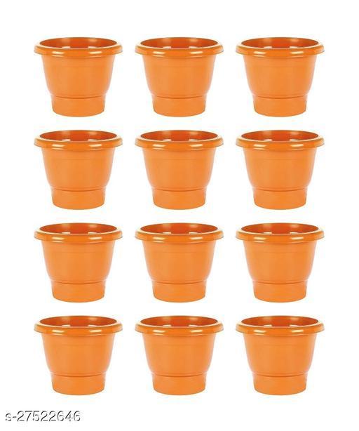 Asian Aura Plastic Round Pot Set 10 Inch, Orange, Pack of 12