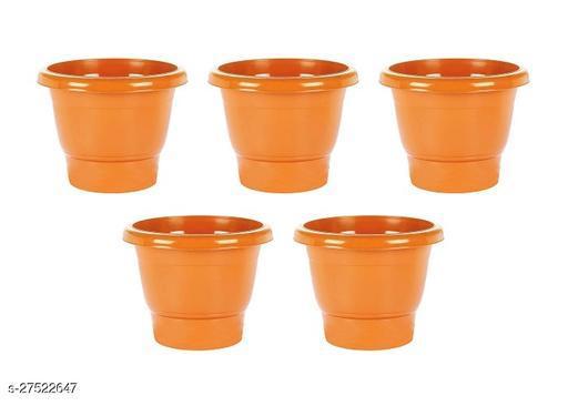 Asian Aura Plastic Round Pot Set 10 Inch, Orange, Pack of 5
