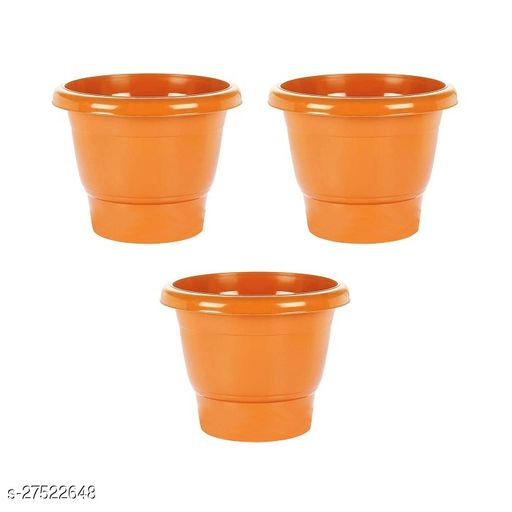 Asian Aura Plastic Round Pot Set 10 Inch, Orange, Pack of 3