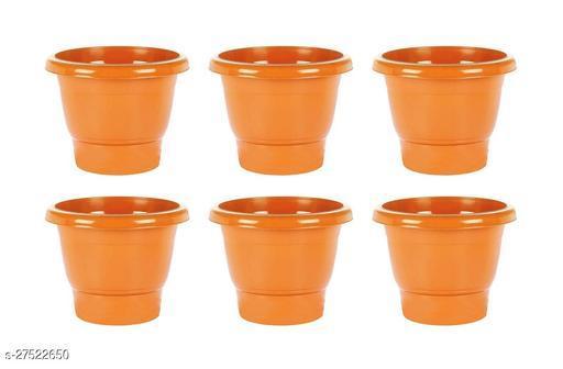 Asian Aura Plastic Round Pot Set 10 Inch, Orange, Pack of 6
