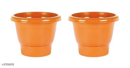 Asian Aura Plastic Round Pot Set 10 Inch, Orange, Pack of 2