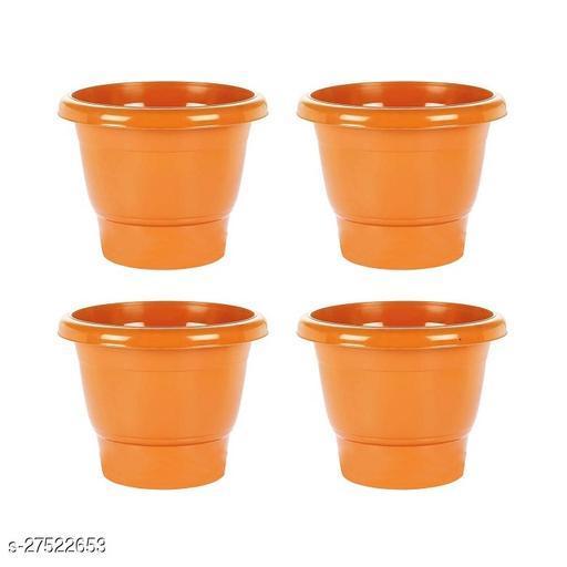 Asian Aura Plastic Round Pot Set 10 Inch, Orange, Pack of 4