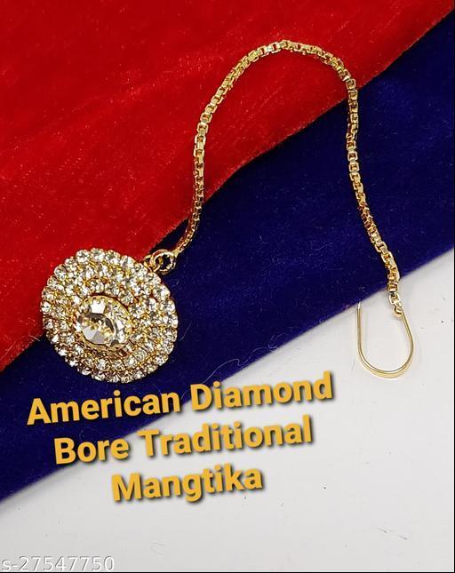 Traditional Rajasthani Crystal Borla Maang Tikka