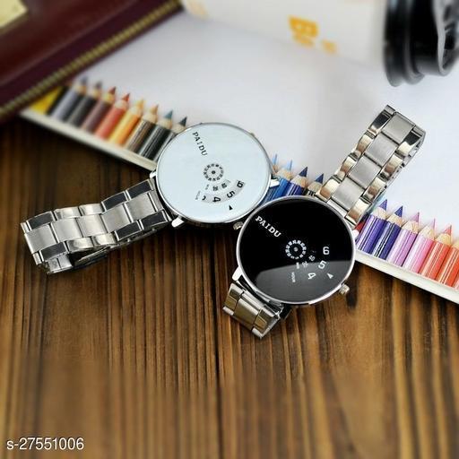 PAIDU BEST STYLISH White & Black Watch Saffer Chain for Men Hybrid Smartwatch Watch - pack fo 2