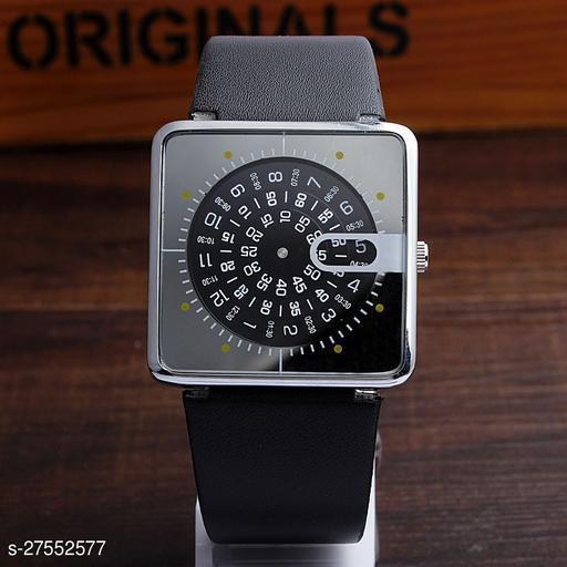 Skylark HC-04 Black dial and black leather strap Analog Watch - For Men