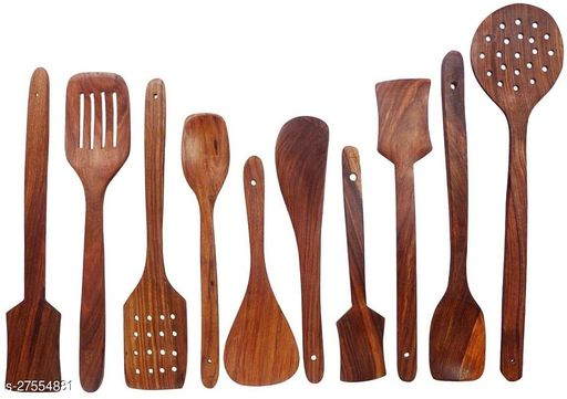INDIA WOOD MART Wooden Spoons For Cooking (Pack Of 10 Spoons)