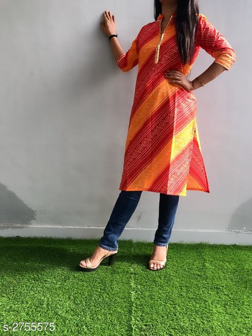 Kurtis & Kurtas Ravishing Cotton Gota Work Kurti  *Fabric* Cotton  *Sleeves* Sleeves Are Included  *Size* L - 40 in, XL - 42 in, XXL - 44 in, 3XL - 46 in  *Length* Up To 42 in  *Type* Stitched  *Description* It Has 1 Piece Of Kurti  *Work* Printed & Gota Work  *Sizes Available* M, L, XL, XXL, XXXL *    Catalog Name: Divine Ravishing Cotton Gota Work Kurtis Vol 1 CatalogID_373609 C74-SC1001 Code: 084-2755575-