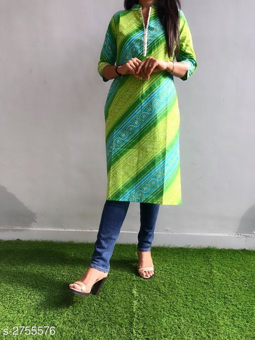 Kurtis & Kurtas Ravishing Cotton Gota Work Kurti  *Fabric* Cotton  *Sleeves* Sleeves Are Included  *Size* L - 40 in, XL - 42 in, XXL - 44 in, 3XL - 46 in  *Length* Up To 42 in  *Type* Stitched  *Description* It Has 1 Piece Of Kurti  *Work* Printed & Gota Work  *Sizes Available* M, L, XL, XXL, XXXL *    Catalog Name: Divine Ravishing Cotton Gota Work Kurtis Vol 1 CatalogID_373609 C74-SC1001 Code: 084-2755576-