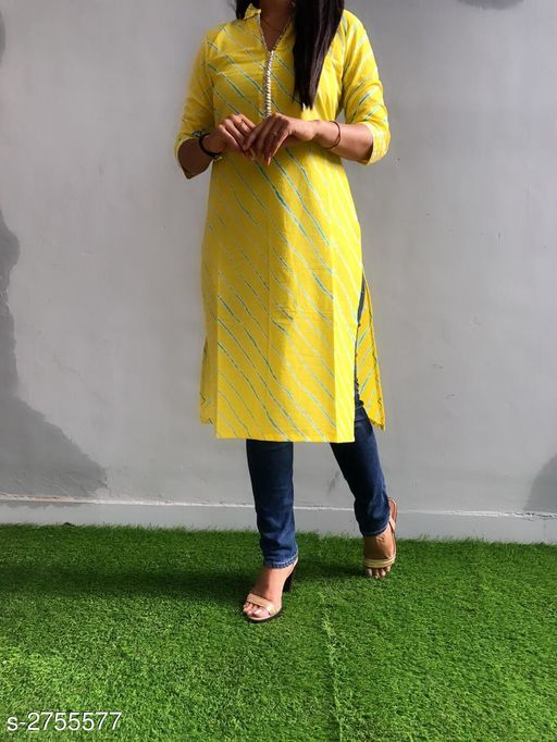 Kurtis & Kurtas Ravishing Cotton Gota Work Kurti  *Fabric* Cotton  *Sleeves* Sleeves Are Included  *Size* L - 40 in, XL - 42 in, XXL - 44 in, 3XL - 46 in  *Length* Up To 42 in  *Type* Stitched  *Description* It Has 1 Piece Of Kurti  *Work* Printed & Gota Work  *Sizes Available* S, M, L, XL, XXL, XXXL *    Catalog Name: Divine Ravishing Cotton Gota Work Kurtis Vol 1 CatalogID_373609 C74-SC1001 Code: 084-2755577-