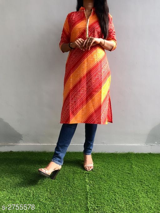Kurtis & Kurtas Ravishing Cotton Gota Work Kurti  *Fabric* Cotton  *Sleeves* Sleeves Are Included  *Size* L - 40 in, XL - 42 in, XXL - 44 in, 3XL - 46 in  *Length* Up To 42 in  *Type* Stitched  *Description* It Has 1 Piece Of Kurti  *Work* Printed & Gota Work  *Sizes Available* M, L, XL, XXL, XXXL *    Catalog Name: Divine Ravishing Cotton Gota Work Kurtis Vol 1 CatalogID_373609 C74-SC1001 Code: 084-2755578-