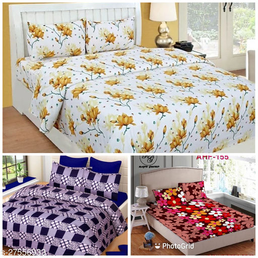 GORGO POLY COTTON DOUBLE BED 3 BEDSHEET COMBO