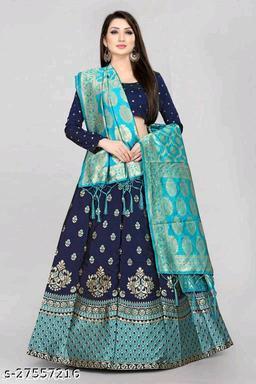 Womens Banarasi Cotton Jequard Fabric Lehenga