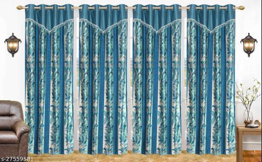 Ruhi Home Furnishing Aqua V Frill Designer Door 7 Feet Curtain Pack of 4
