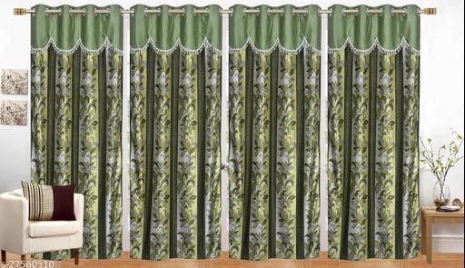 Ruhi Home Furnishing Green 4U  Frill Designer Door 7 Feet Curtain Pack of 4