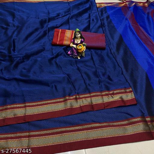Trendy KHAN Silk MULTI BORDER SAREE