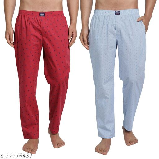 FTX Men's Pure Cotton Super Comfort Pyjama Pants - Set of 2 Red+Light Blue