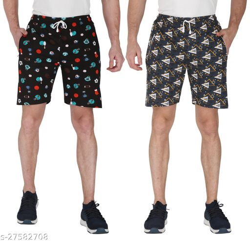 3BROS Multicoloured Printed Shorts For Men (Pack of 2)