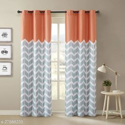 Amazures Polyester Fabric Digital Printed Curtain, Orange, Pack Of 2