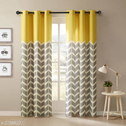 Amazures Polyester Fabric Digital Printed Curtain, Yellow, Pack Of 2