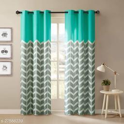 Amazures Polyester Fabric Digital Printed Curtain, Aqua Blue, Pack Of 2