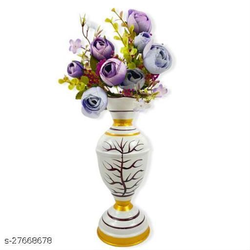 Fancy Vase with flower bunch Home Décor Living Room bathroom Decorative Showpiece 8  Inch Length