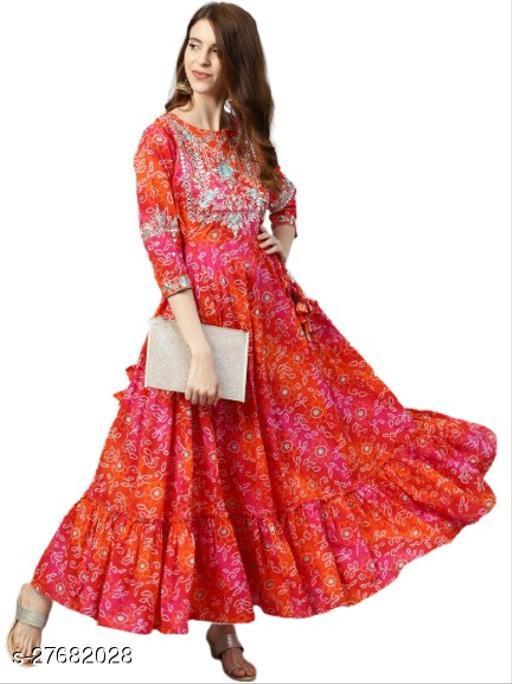 JK Fashion Women Red & Orange Bandhani Print Kurta