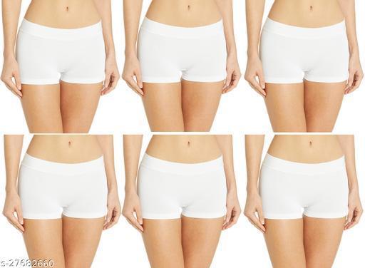 Women Boy Shorts White Cotton Panty (Pack of 6)