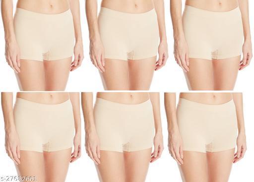 Women Boy Shorts Beige Cotton Panty (Pack of 6)